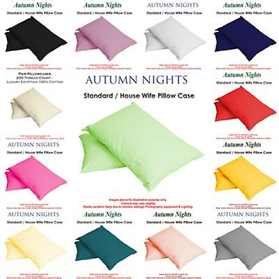 NEW - 2016 - Single & Pair Of Plain Dyed Standard Pillow case/cover
