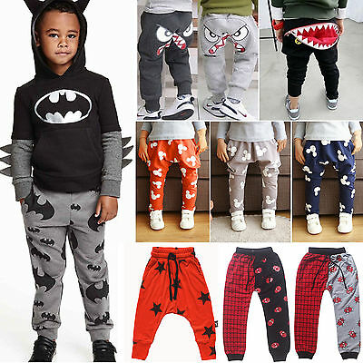 Kids Boys Girls Baggy Trousers Sweatpant Long Harem Jogger Sports Leggings Pants