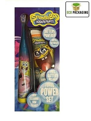 Spongebob Sonic Turbo Power Toothbrush with Toothpaste Dental Set