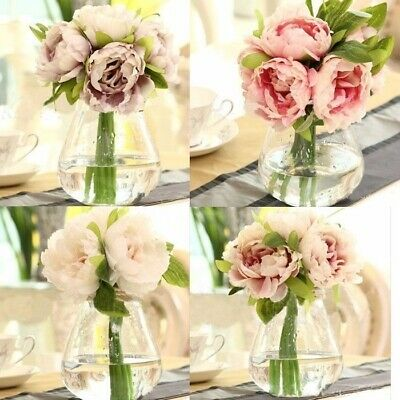 Home Wedding Garden Decor Artificial Fake Peony Silk Flower Bridal Hydrangea