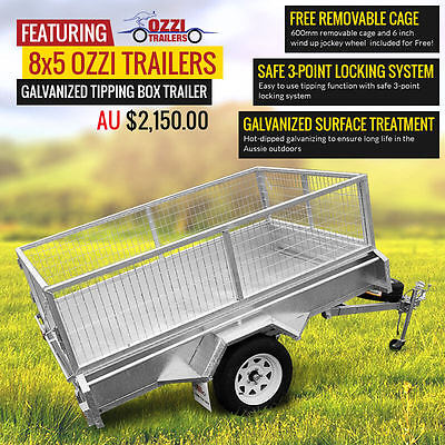 8x5 Tipping Trailer Galvanised Brand New Delivery Australia Wide