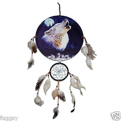 Howling Wolf & Moon  Native American  Indian Dreamcatcher 30cm Canvas NEW