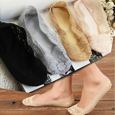 Fashion Womens Blend Cotton Lace Antiskid Invisible Low Cut Socks Toe Ankle Sock