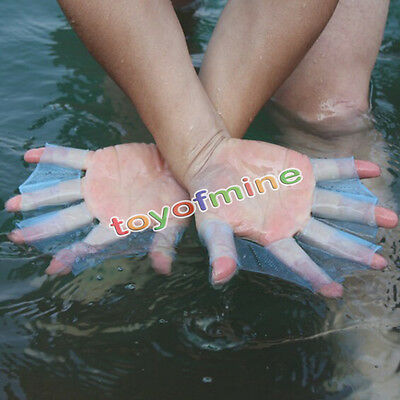 Swimming Finger Webbed Gloves Frog Hand Gear Fins Palm Flippers Paddle Silicone