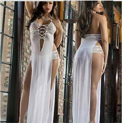 WHITE Women Lingerie Nightwear Lace Dress Underwear Sleepwear Babydoll+G String