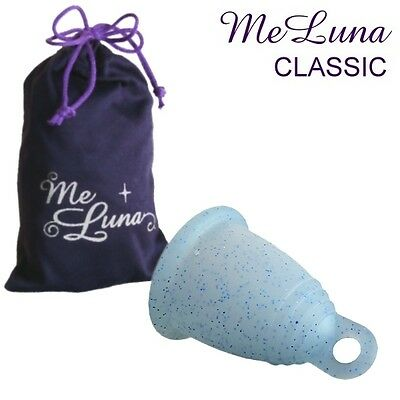 Me Luna Classic Menstrual Cup - Blue Glitter - 3 Sizes - Ring Style