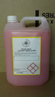 4 x 5 LITRE LUXURY PINK PEARLISED LIQUID HAND SOAP DISPENSER RE FILL OFFER !