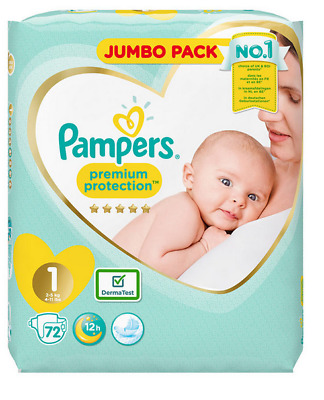 Pampers Premium Protection Baby Nappy 2-5Kg Newborn Size 1 Jumbo Pack 72 Nappies