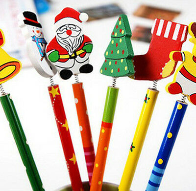 6PC 6Style/Set Xmas Pencil Creative Korean Wooden Children Stationery Pencil