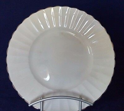 "Susie Cooper ""White Flute"" Bone China Luncheon Salad Plates England Mid-Century"