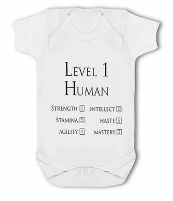 Level 1 Human Character funny wow gamer nerdy - Baby Vest