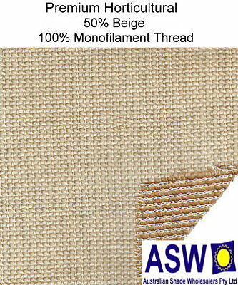 50% UV 4m wide BEIGE SHADECLOTH Premium Horticultural Commercial Shade Cloth