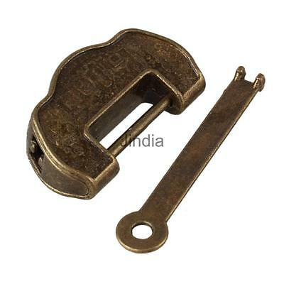 Rare Chinese Old Style Raised Pattern Small Padlock Lock/Key For Collections