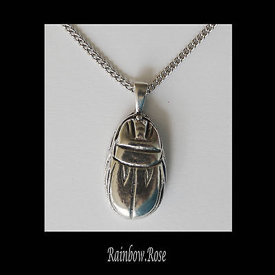 Chain Necklace #164 Pewter Scarab (34mm x 16mm) Beetle Egyptian Symbol