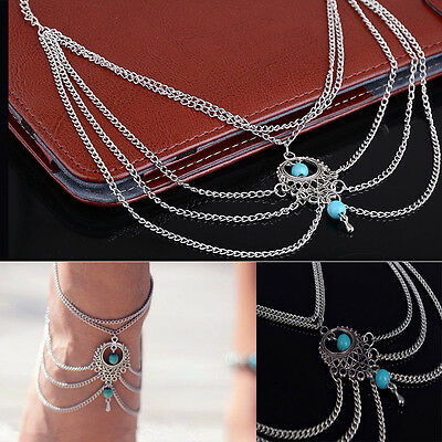 Fashion Anklet Boho Blue Beads Anklets Bracelet Foot Chain Beach Jewelry Unique