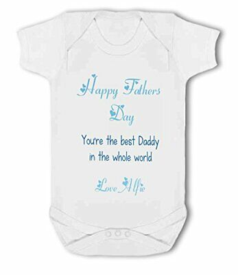 Happy Fathers Day personalised blue - Baby Vest