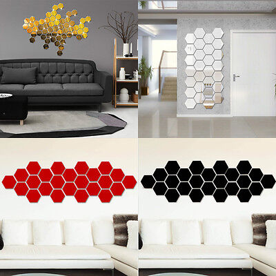 10Pcs Removable Mirror Acrylic Wall Sticker Art Vinyl Decal Home Decor 4 Colors