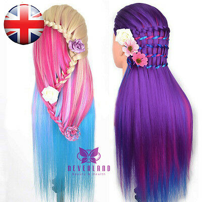 "26"" Salon Colorful Long Hair Mannequin Practice Hairdressing Training Head Clamp"