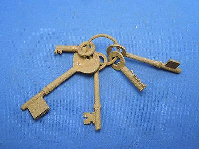 Antique Cast Iron Set of Skeleton Keys on Key Ring