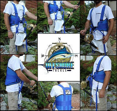 Usa Ship Stand Up Fishing Fighting Belt Shoulder & Back Harness Complete Package