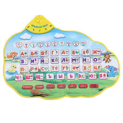 Kids Learning Mat Russian Language Toy Funny Alphabet Sound Carpet WD