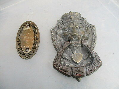 Cast Metal Door Knocker Lions Head Crown Gilt Shell Fan  Antique Style Retro