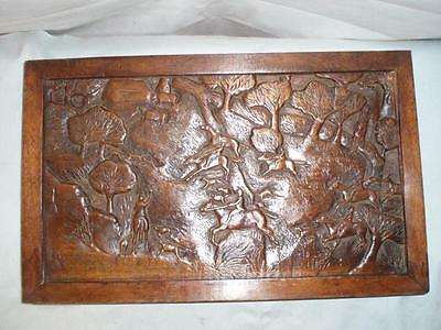 WW11 Solid oak Hand Carved Hunting Scene Signed and Dated 1945 Table Top .