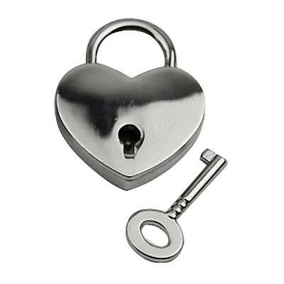 Small Heart Shape Padlock Tiny Luggage/Suitcase Box Diary Locks Keys Silver