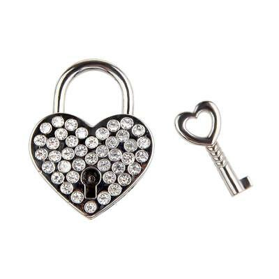 Fashion Small Crystal Heart Shape Padlock Mini Luggage Bag Diary Key Lock