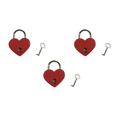 Small Heart Shape Padlock Tiny Luggage Bag Case Diary Lock Keys Red Lot of 3