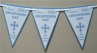 Personalised Christening Boy Girl Bunting - Banner Decoration Blue Pink