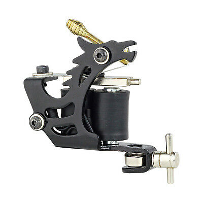 New Pro Black Tattoo Machine Gun Liner Shader Dual 10 Wrap Coil For Power Supply