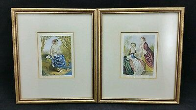 """Pretty Pair of Victorian prints of Young Women, Framed & Glazed, 7 7/8"""" × 9 1/8"""""""