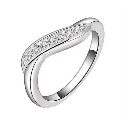 925 Silver Plated Ring Rhinestone Jewelry Present Wedding Rings US Size 7 8