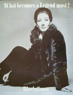 BLACKGLAMA MARIA CALLAS Vintage 1970 advertising poster MINK FUR COAT AVEDON NM