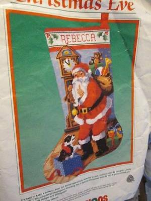 Dimensions Christmas Eve Needlepoint Stocking Kit #9054-Partially Started-16 Inc