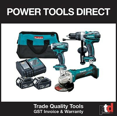 New Makita 18V Cordless Hammer Drill Impact Driver Grinder 3 Piece Combo Kit