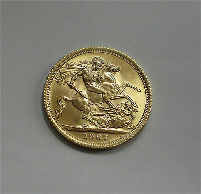 England Gold Coin, Sovereign 1967 Unc Ms++ Superb Luster Km#908