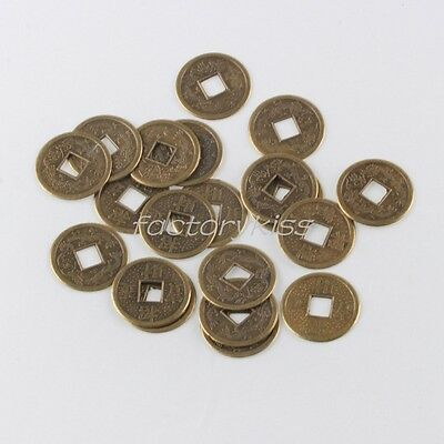 20x Brass Feng Shui I Ching Chinese Wealth Double Dragon Fortune Coin Lot 6H9