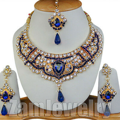 Bollywood Handmade Gold-Plated CZ Beautiful Indian Necklace Set Blue Jewelry Set