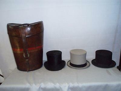 ANTIQUE RARE LEATHER THREE TOP HAT CASE/BOX. (DREW & SONS PICCADILLY) + 3 hats
