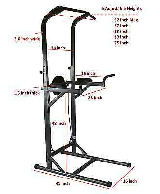 Deluxe Sturdy Chin Up VKR Dip Station Power Tower Sturdy Push Up Pull Up Bar New