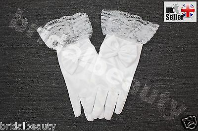 White First Holy Communion Flower Girls Wedding Bridesmaids Pageant Lace Gloves