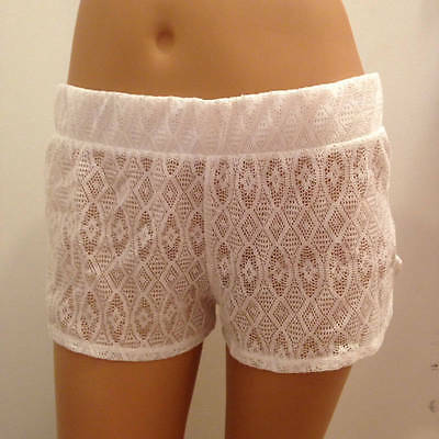 MIKEN SWIM Ladies Small White Sheer Crochet Lace Swimsuit Cover-Up Shorts bc3bd65124