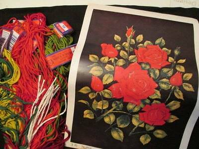 Tokyo Bunka Red Roses #408 Needle Punch Embroidery Kit 11.8x15.7 Inches (30x40 c