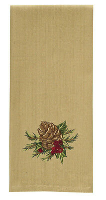Christmas Holiday Pine Cone Embroidered Dish Towel