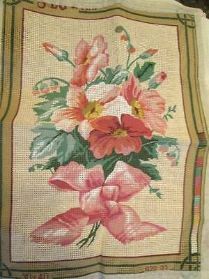 SEG Pink Flower Bouquet In A Pink Bow Needlepoint Canvas 8.5x12.75 Inches (21.5x