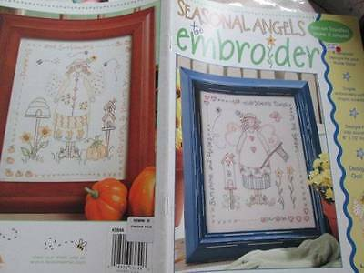 Seasonal Angels To Embroidery Iron On Transfer Booklet- 4 Designs By Gail Bussi