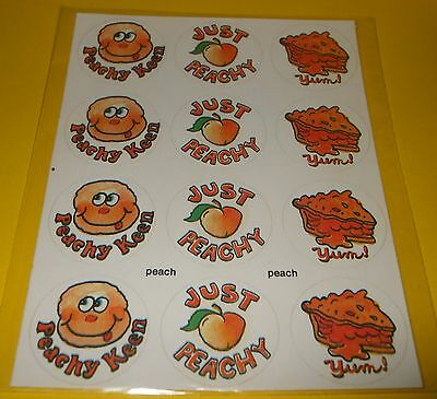 Vtg 80s PAPER ART SNiFFER Sticker Sheet Scratch & Sniff PEACH Scent~SUPER RARE!