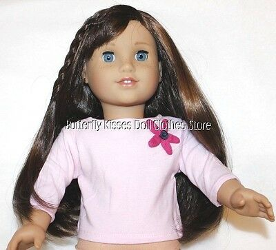 Pink 3/4 Sleeve Fabric Flower T-Shirt 18 in Doll Clothes Fits American Girl